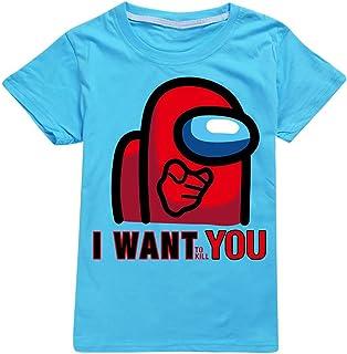 Among US Camiseta Algodón T-Shirt Unisex Manga Corta Cuello Redondo T Shirt Camisetas Tshirt Ropa Ninos Niñas Among Us (GD...
