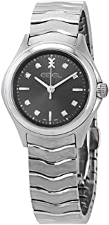 Ebel Women's Wave Diamond 30mm Steel Bracelet & Case Sapphire Crystal Swiss Quartz Grey Dial Watch 1216316