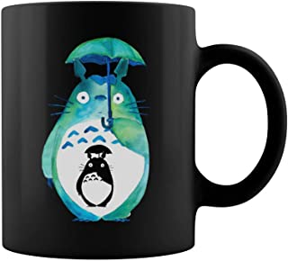 Totoro Holding Umbrella In The Rain Coffee Mug - 11Oz Black Gift For Daughter Son Neice Nephew Kids Children Ghibli Fans In Christmas Birthday Thanksgiving Easter New Year's Eve Valentine's Day