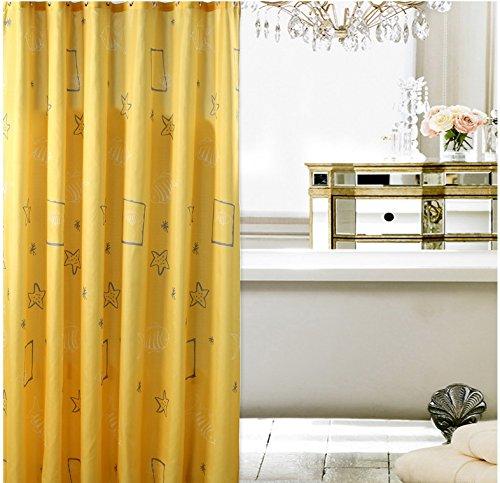 LANA Gelbe Sterne Dekor Kollektion Polyester Stoff Duschvorhang mit Haken, 120*200 cm