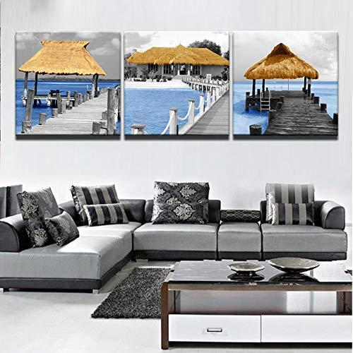 ZXCVWY 3 platen schilderen moderne muurkunst lange brug houten paviljoen seascape gedrukt afbeelding voor woonkamer wooncultuur canvas