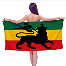 Glifporia Bath Towels Egyptian Cotton Rasta,Rastafarian Flag with Judah Lion on Reggae Music Inspired Decor Image,Black Red Green and Yellow,W10 xL39 for Men red