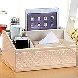 Caja de almacenamiento de cuero multifuncional estilo europeo multifuncional para escritorio, caja de pañuelos de escritorio, teléfono móvil (incluyendo caja de papel solamente) 11*7*6IN a