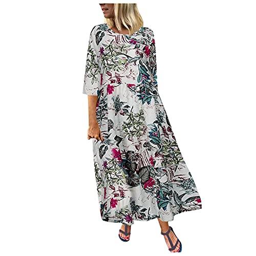 Vestido de verano para mujer de flores, de lino, de manga corta, cuello redondo, para la playa, elegante, camisola, para el tiempo libre, maxivestido, sin mangas, con falda swing 2 - Rosa S
