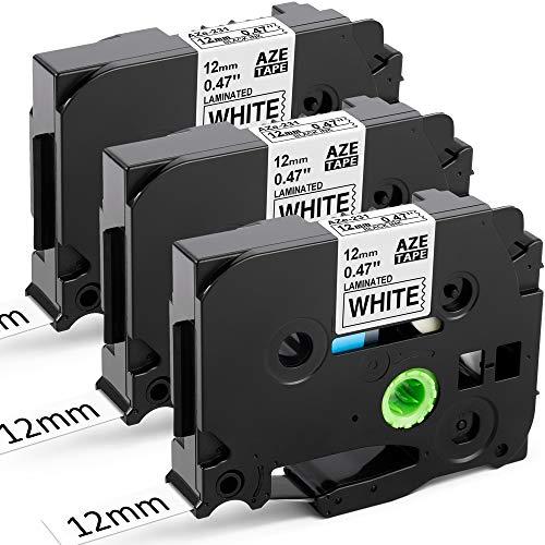 Upwinning kompatibel Schriftbänder als Ersatz für Brother Ptouch Bänder TZe-231, TZe231 Laminiert Langlebig AZe Tape 12mm white für P-touch 900 Cube H105 H110 E110 1000, schwarz auf weiß, 3er-Pack