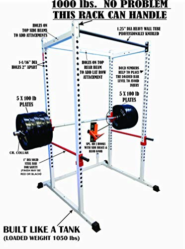Power rack WHITE 1000lb Rated. 2 Inch 11 Gauge Sq. Tube with 1 inch holes. 2 inch hole centers for fine adjustment with bold letters. Designed to add variety of attachments. 1000lb rated J Hooks
