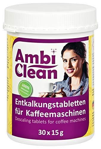 AmbiClean® Entkalker-Tabletten in der Dose für Kaffeevollautomat, Kaffee-Maschine und Wasserkocher, Kalk-Entferner für alle Geräte-Marken – 30 Tabletten je 15 g