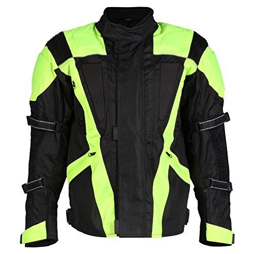 Turin - Herren Motorradjacke mit Protektoren - wasserdicht & erhöhte Sichtbarkeit - Größe EU 64 / Brustumfang 137cm / 5XL