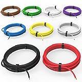 AUPROTEC Câble unipolaire 1,5 mm² FLRY-B Fil Électrique en Anneau: Set 9 Coleurs à 10m