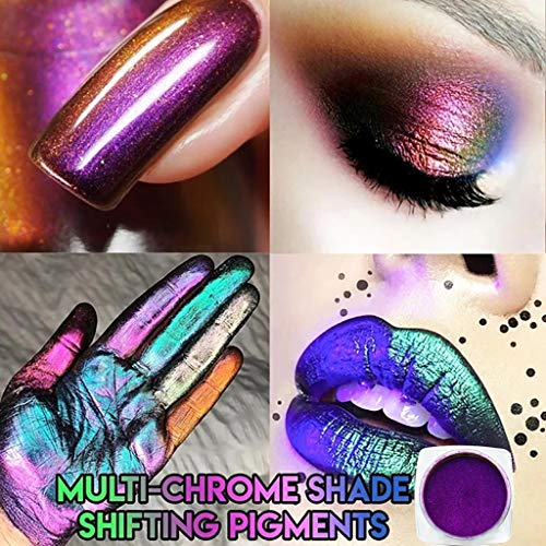 Eyeshadow Palette Makeup -4 Optional Colors Multi-Chrome Shade Highly Pigmented Eye Shadow Longevity Makeup Nail Lips Eyes for Beginners/Party/Giftable/Holiday (Purple)
