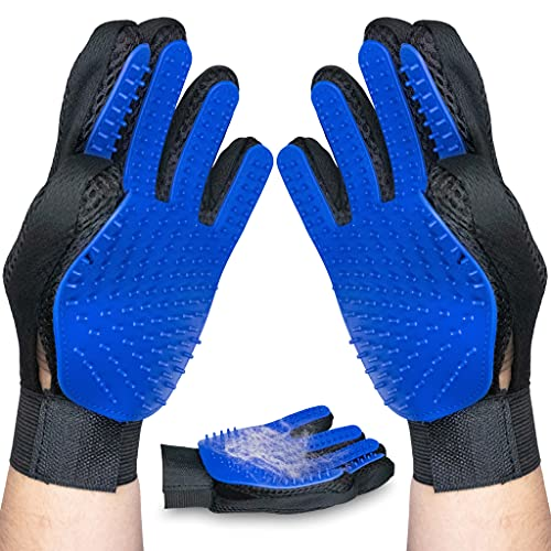 Upgraded Version: New Pair Pet Grooming Glove Deshedding for Dogs and Cats, Hair Remover, for Long and Medium or Short Fur, Machine Washable, 1 Size Fits All, Dog Brush, Cat Brush