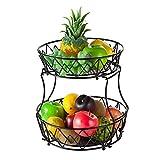 Cesta de fruta de 2 niveles, cuenco de fruta para mostrador de cocina, bandeja de frutas de fondo redondo, uno de soporte de fruta para mantener todo organizado (negro, metal)