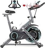 Divgdovg Heimtrainer Profi Indoor Cycle Ergometer Heimtrainer mit Pulsmesser, LCD Anzeige,Armauflage,Gepolsterte Fitnessbike Speedbike mit flüsterleise Riemenantrieb-Fahrrad bis