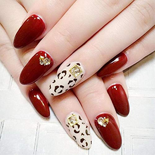 CLOAAE Burgundy solid color leopard print and 3d decorative fake nails