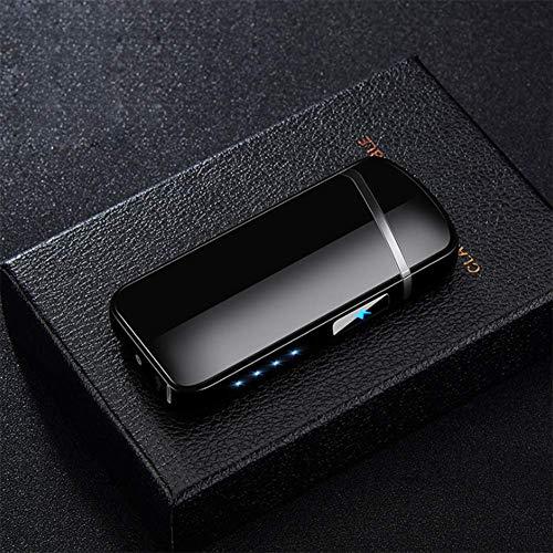 nulala sigarettenaansteker, USB-sigarettenaansteker, adapter, opladen elektronische dual arc, vlamloze oplaadbare winddicht, power display, cadeau voor heren zwart