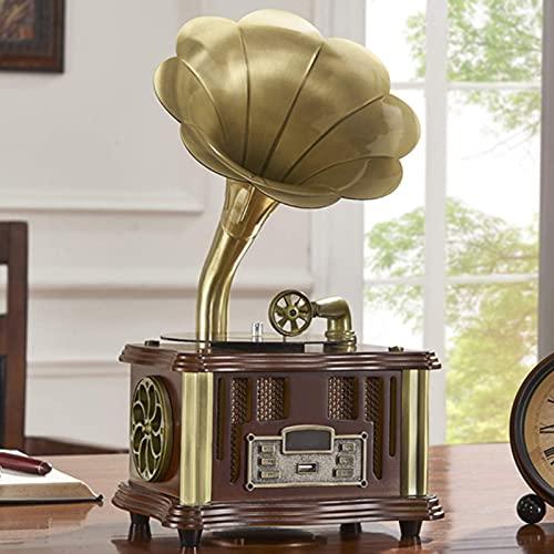 ZSMLB Altoparlante Bluetooth retrò, Giradischi Vintage Forma di grammofono Ingresso Aux-in, Lettore USB, Doppia Traccia, Stile fonografo la Decorazione Domestica
