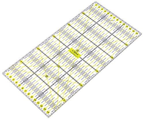 Lialina® Transparentes Universal Patchwork-Lineal 15 x 30 cm / 2farbiger Druck cm Linien Raster 30/45/60 Grad Winkel-Maße/Papier + Stoff exakt mit Rollschneider zuschneiden