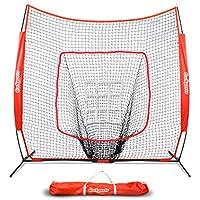 GoSports 7' X 7' Baseball & Softball Practice Hitting & Pitching Net with Bow Frame, Carry Bag and Bonus Strike Zone