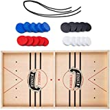 AorZ Fast Sling Puck Game,Wooden Hockey Game Table Game,Catapult Chess Bumper Slingshot Table Ice Hockey Winner Board Party Game Toy (Small size)
