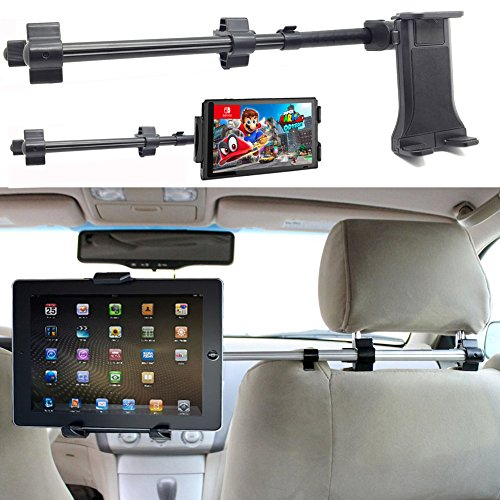ChargerCity Premium Center Extension Car Seat Headrest Mount w/ Universal Tablet Cradle Holder for i Pad Air Pro 12.9 Mini Galaxy Tab Surface Pro Switch Smartphones (Fits All 7 - 12 inch Screens)