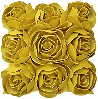 JWH 3D Rose Flowers Accent Pillow Case Handmade Solid Suede Cushion Cover Decorative Pillowcase Home Bed Living Room Couch Shell Gifts 18 x 18 Inch Yellow