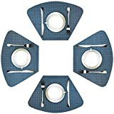 WAZAIGUR Wedge Placemats for Round Table Set of 4 Woven Vinyl Washable Placemat for Dining Table Heat Resistant Durablity Table Mats,Blue