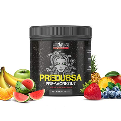 Strong Muscle Nutrition Predussa Hardcore Pre Workout Booster 220g Fruit Punch, Trainingsbooster Fitness 350mg Koffein pro Portion