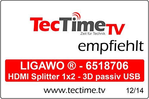 Ligawo 6518706 HDMI-Verteiler (1x Eingang an 2X Ausgänge, 3D, Full HD, HDCP) inkl. USB Stromkabel (0,8m) schwarz