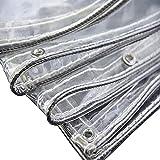 WLVG Telo Impermeabile Trasparente Resistente con Occhielli, Vetro Trasparente in PVC Trasparente da 0,35 mm, Copertura per Piante da Cortile Antipioggia (0,35 mm/400 g/m²) (Dimensioni: 1,5x3 m/3