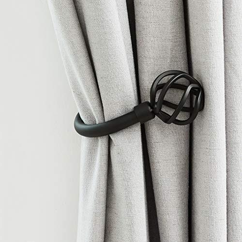 Curtain- Holdbacks- Holder- Tiebacks - Hooks- Black- Wall Mounted- Twisted Cage Finials Decorative Metal for Drapes Sheer Curtain (Black)