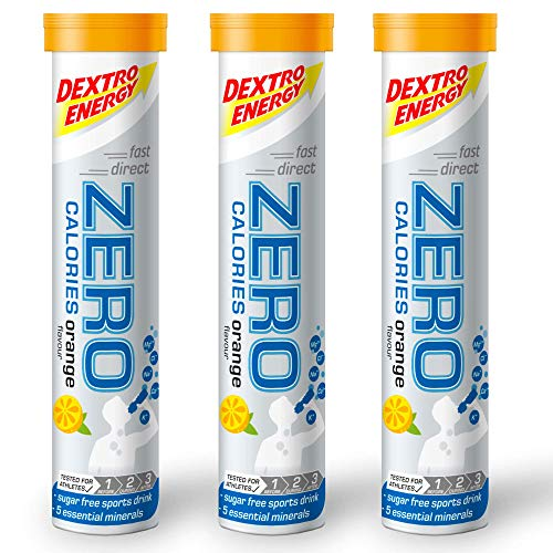 Dextro Energy Zero Calories I Recovery and Hydration Electrolyte Drink I Zero Effervescent Tablets I Buy 2 Get 1 Free (2 Orange + 1 Orange FREE)