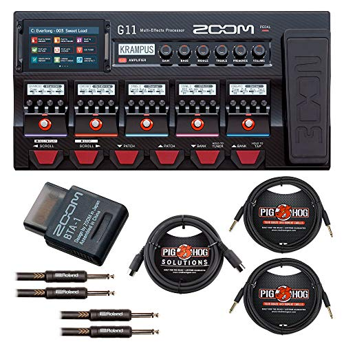 Zoom G11 Multi-Effects Guitar Processor with Expression Pedal with Zoom BTA-1 Bluetooth Adapter, 2 Instrument, 2 Patch and 1 Midi Cable