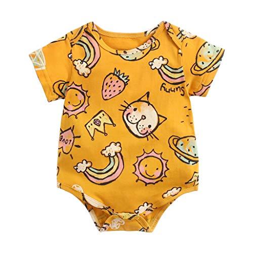 K-Youth Body Bebe Niña Recien Nacida Kawaii Mameluco Bebe Niña Animales Bodies Bebe Manga Corta Niño Monos para Bebés Niña Ropa Bebe Niña Verano Pelele para Infantil Pijama (Amarillo, 18-24 Meses)