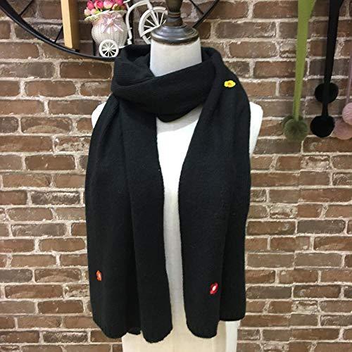 HCWH Bufandas Estolas para Mujer Otoño e Invierno Color Caramelo Babero Bordado pequeña Flor de PuntoBufandaGruesa-Negro