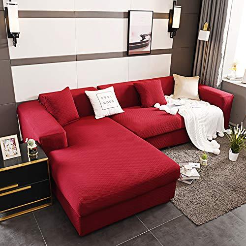 XQWZM Elastische Couch Slipcover,Weich Couch-Abdeckung,Wohnzimmer Couch Protektor,Für L-gefürmte Sektionalmöbel Couch Protector-Rot. 3 Seaters 190-230cm(75-91inch)