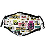 Vintage, Vintage Old Fashioned Photo Cameras Hobby Studio Themed Graphic Design,Multicolor Reusable Face Mask Balaclava Washable Outdoor Nose Mouth Cover for Men and Women