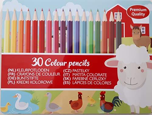 30 Buntstifte sortiert im Metall-Etui - Premium Qualität-