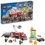 LEGO City Fire Unità di Comando Antincendio dei Vigili del Fuoco, Giocattolo Autopompa con Piattaforma Aerea, 60282