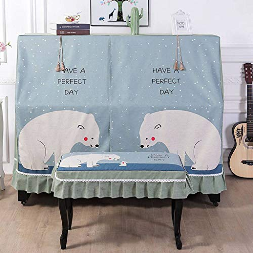 Piano Cover Upright, Cartoon Full Piano Cover Soft Decorative Cover With Stool Cover Washable For Universal Upright Piano-1-B