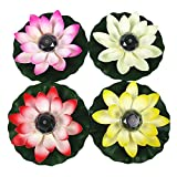 AESTHING 4Pack Solar Floating Lights Waterproof LED Lotus Flower Lamp Floating Night Lights for Swimming Pool or Pond Decoration