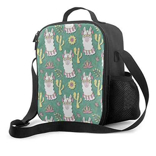 Cute Alpaca Lunch Bag Cooler Bag Tote Bag Insulated Lunch Box Water-Resistant Thermal Lunch Bag Green Succulents Lunch Bags for Women/Men/Picnic/Boating/Beach/Fishing/Work