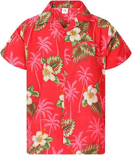 King Kameha Funky Camicia Hawaiana, Small Flower, Rosa, 3XL