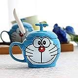 zipkp Doraemon Doraemon Gatto Creativo Cartone Animato Tazza Tazza in Ceramica Tazza da Acqua Tazza da caffè Tazza + Cucchiaio + Coperchio_D Sorriso