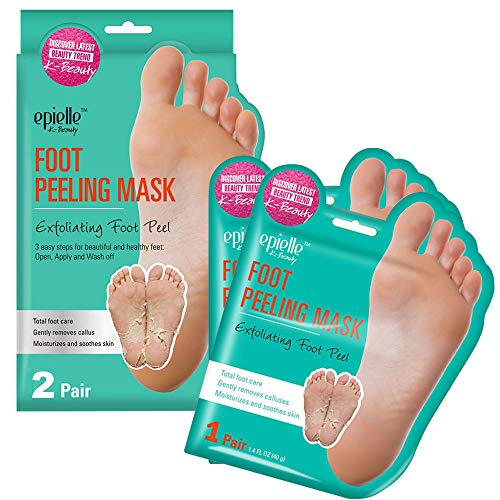 Epielle-Foot Peel Mask - 2 Pack - For Cracked Heels, Dead Skin & Calluses - Make Your Feet Baby Soft & Get a Smooth Skin, Removes & Repairs Rough Heels, Dry Toe Skin - Exfoliating Peeling Treatment