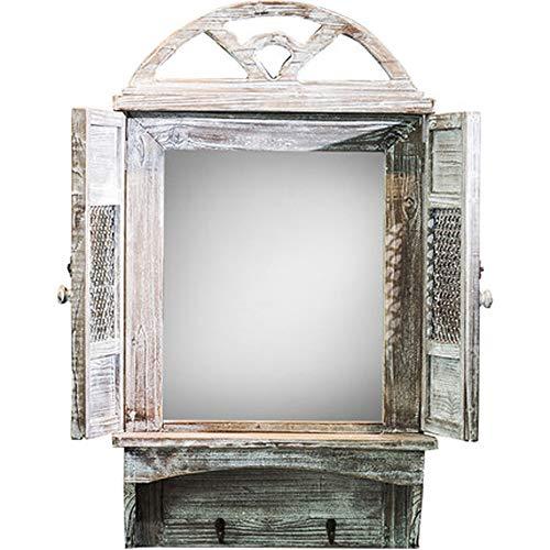 Espejo Decorativo Vintage, Forma De Ventana, Conmutable, Madera, Textura Desgastada, Montaje En Pared