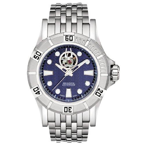 Accutron by Bulova Kirkwood automático acero inoxidable reloj para hombre esfera azul 63A112