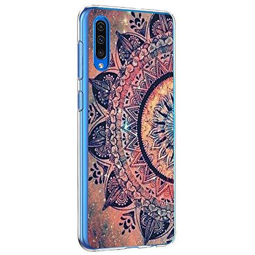 Riyeri Hülle Compatible with Samsung Galaxy A50 Hülle Transparent Fit TPU Silikon Bumper Handyhülle für Samsung A50 Cell Phone - Blume (A50, 2)