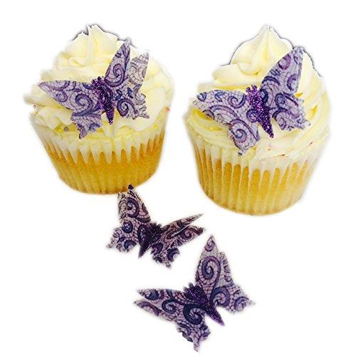 12 décorations Fait main en dentelle effet 3D corps de Papillon Paillettes comestibles Papier Cake Toppers décorations