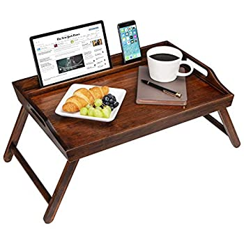 Rossie Home Media Bed Tray with Phone Holder - Fits Up To 17.3 Inch Laptops and Most Tablets - Espresso Bamboo - style No 78112