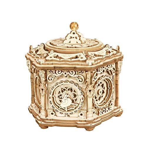 Taloit Starry Night Music Box 3D Wooden Puzzle DIY Assemble Wooden Model Mechanical Music Box